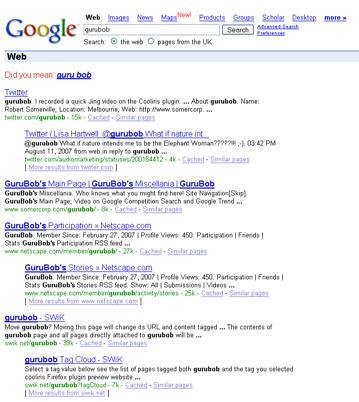 Відача Google по запросу gurubob
