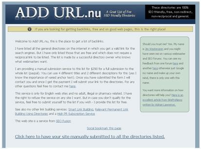 Сайт addurl.nu