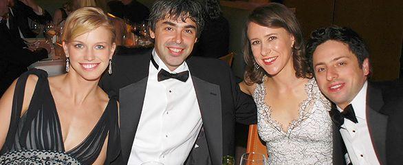 Ларри Пейдж и Сергей Брин с женами
