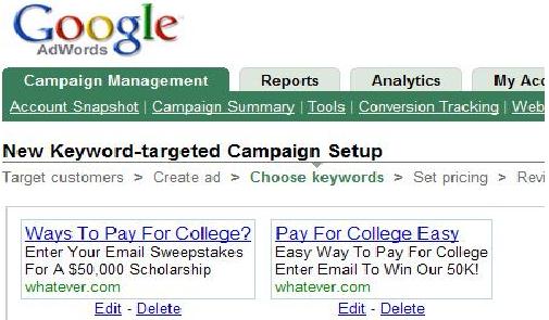 Примеры объявлений Google Adwords