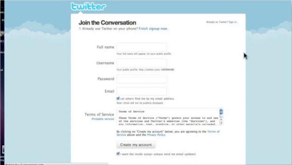 Создание аккаунта на Twiter.com