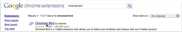 Установку расширения Chrome Bird