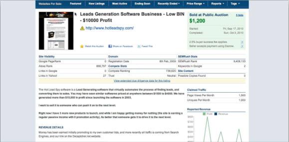 Продажа сайта на Flippa.com