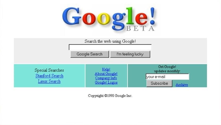 1998 год. Beta-версия Google