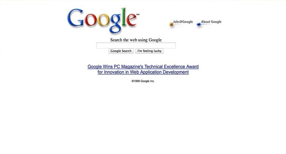 1999 год. Google уже работает.