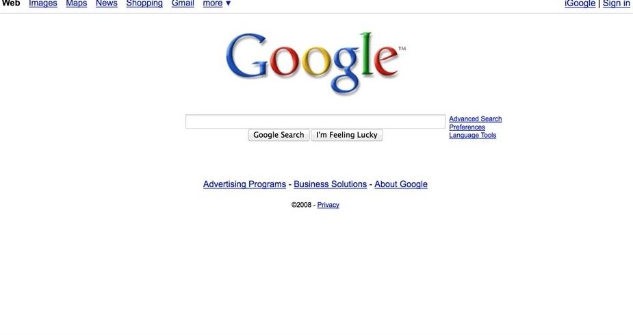 2008 год. Сервисы вынесли в верхнюю панель